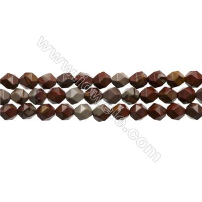 "Natural Red Australia Noreena Jasper Beads Strands, Star Cut Faceted, Size 8x8mm, Hole 0.8mm, 15~16""/strand"