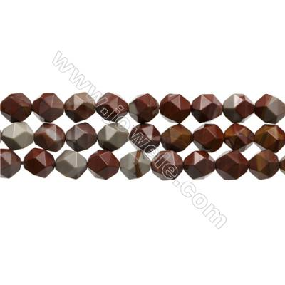 """Natural Red Australia Noreena Jasper Beads Strands, Star Cut Faceted, Size 10x10mm, Hole 1mm, 15~16""""/strand"""