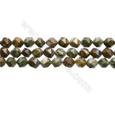 "Natural Rhyolite Jasper Beads Strands, Star Cut Faceted, Size 8x8mm, Hole 0.8mm, 15~16""/strand"