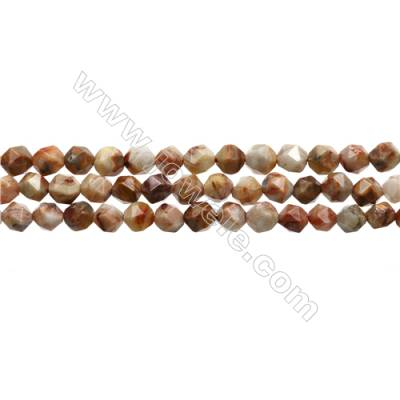 "Red Crazy Lace Agate Beads Strands, Star Cut Faceted, Szie 6x6mm, Hole 0.8mm, 15~16""/strand"