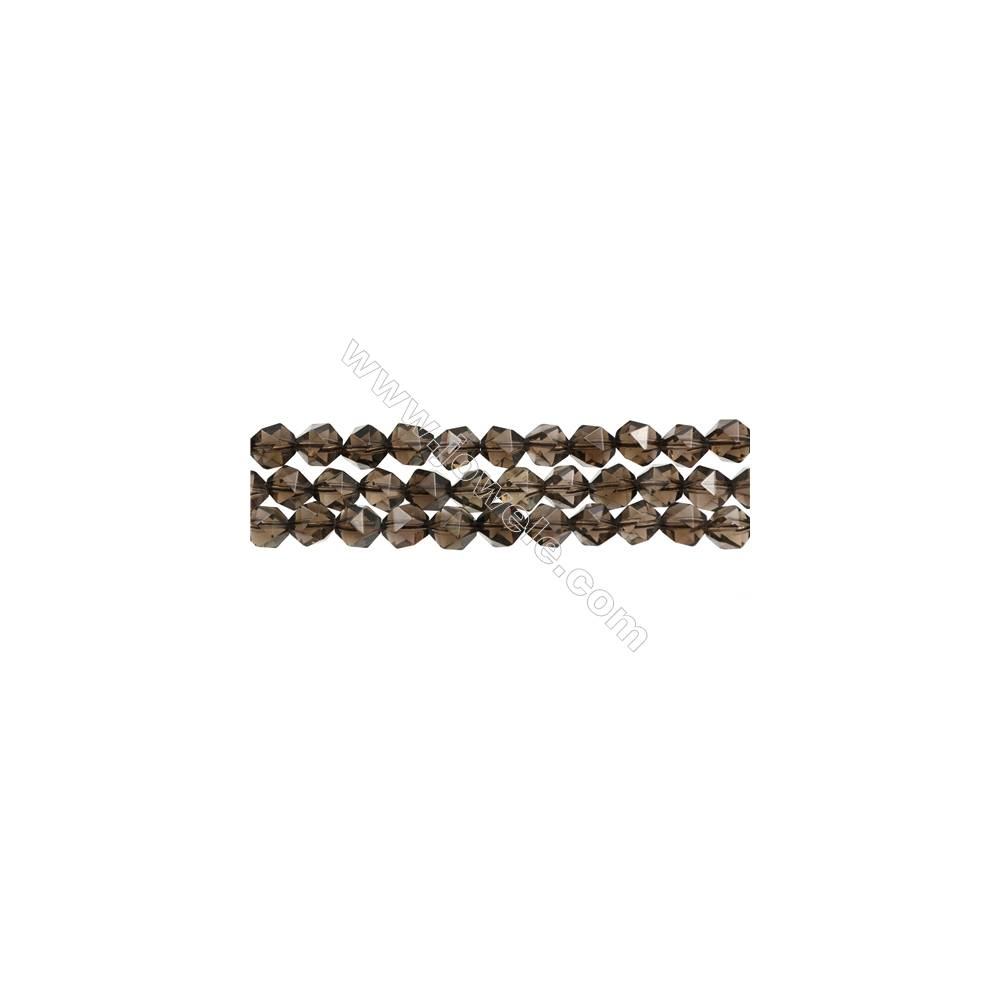 """Natural Smoky Quartz Beads Strands, Star Cut Faceted, Size 8x8mm, Hole 1mm, 15~16""""/strand"""