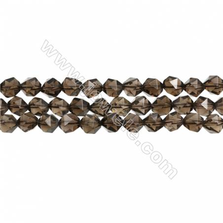 "Natural Smoky Quartz Beads Strands, Star Cut Faceted, Size 8x8mm, Hole 1mm, 15~16""/strand"