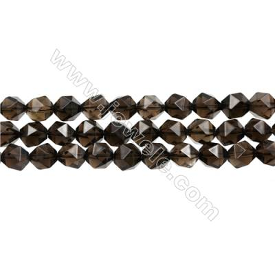 "Natural Smoky Quartz Beads Strands, Star Cut Faceted, Size 10x10mm, Hole 1mm, 15~16""/strand"