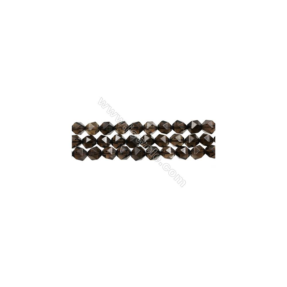 """Natural Smoky Quartz Beads Strands, Star Cut Faceted, Size 10x10mm, Hole 1mm, 15~16""""/strand"""