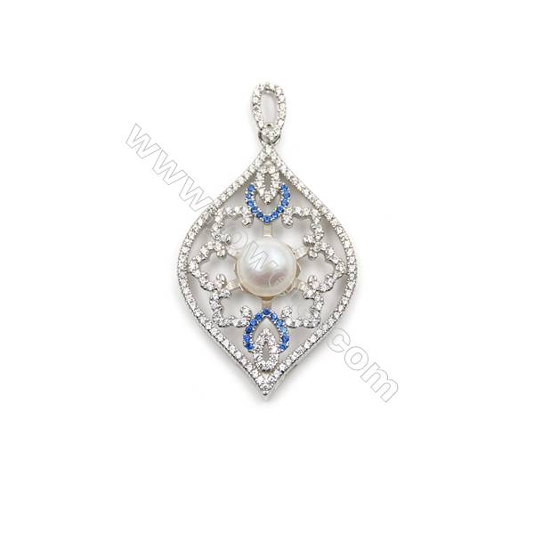 925 Sterling silver platinum plated zircon pendant findings, 25x39 mm, x 5 pc, tray 9mm, needle 0.9mm