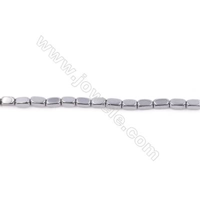 Silver Plated Hematite Beads Strand, Cuboid, Size 4x2x2mm, Hole 0.8mm, about 95 beads/strand 15~16""