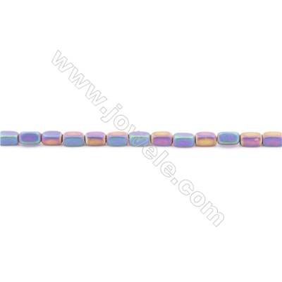Frosted Various Colors Plated Hematite Beads Strand  Cuboid  Size: 4x2x2mm  Hole 0.8mm  about 100 beads/strand 15~16""