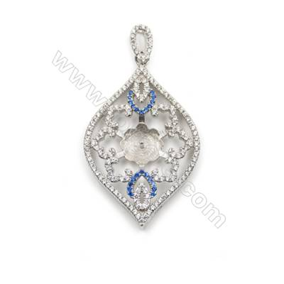 925 Sterling silver platinum plated zircon pendant findings-D5497 25x39 mm x 5 pc diameter 9mm small needle diameter 0.9mm