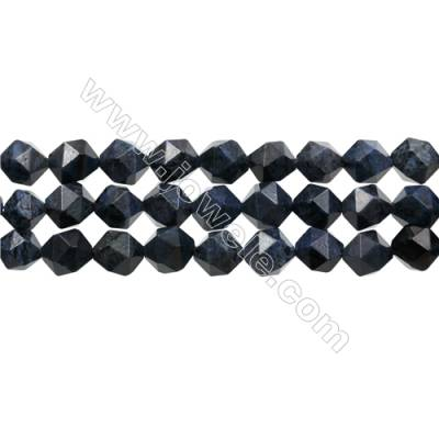 "Natural Dumortierite Stone Beads Strands, Star Cut Faceted, Size 10x10mm, Hole 1mm, 15~16""/strand"