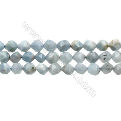"Natural Aquamarine Beads Strands, Star Cut Faceted, Size 8x8mm, Hole 0.8mm, 15~16""/strand"