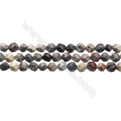 "Natural Porcelain Jasper Beads Strands, Star Cut Faceted, Size 6x6mm, Hole 0.8mm, 15~16""/strand"
