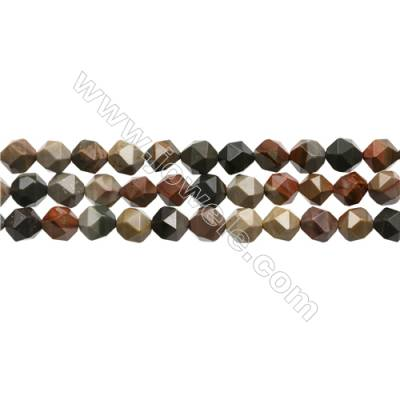 "Polychrome Jasper Beads Strands, Star Cut Faceted, Size 8x8mm, Hole 1mm, 15~16""/strand"
