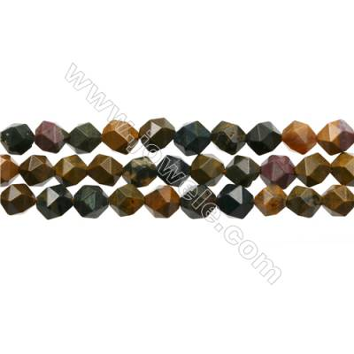 "Natural Ocean Jasper Beads Strands, Star Cut Faceted, Size 8x8mm, Hole 0.8mm, 15~16""/strand"