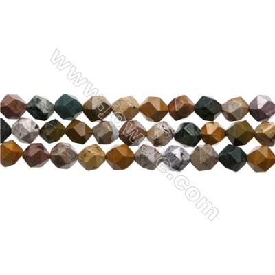 """Natural Ocean Jasper Beads Strands, Star Cut Faceted, Size 10x10mm, Hole 1mm, 15~16""""/strand"""