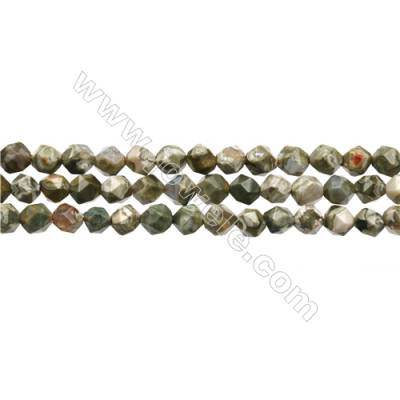 "Grade A Natural Rhyolite Gemstone Beads Strands, Star Cut Faceted, Size 6x6mm, Hole 1mm, 15~16""/strand"