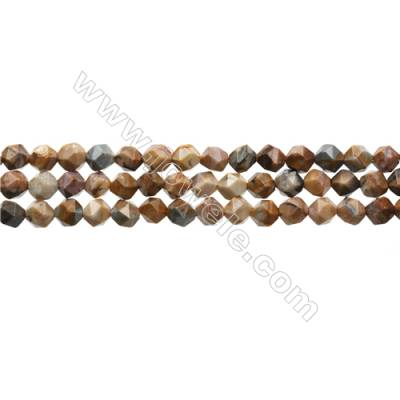"Natural Venus Jasper Beads Strands, Star Cut Faceted, Size 6x6mm, Hole 0.8mm, 15~16""/strand"
