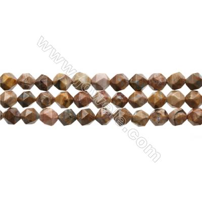 "Natural Venus Jasper Beads Strands, Star Cut Faceted, Size 8x8mm, Hole 0.8mm, 15~16""/strand"