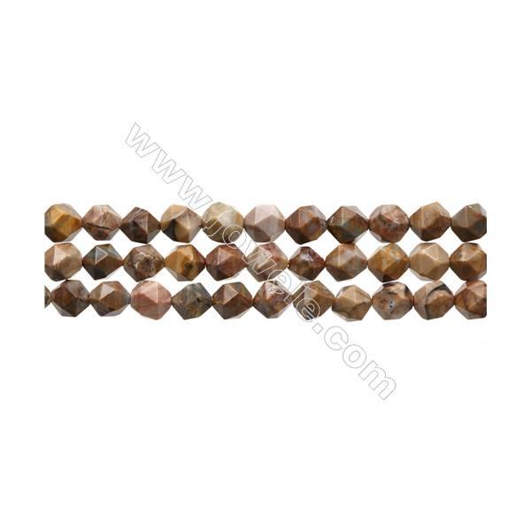 "Natural Venus Jasper Beads Strands, Star Cut Faceted, Size 8x8mm, Hole 0.8mm, 15~16""/strand"