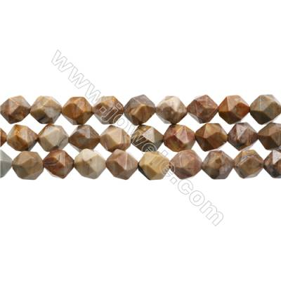 "Natural Venus Jasper Beads Strands, Star Cut Faceted, Size 10x10mm, Hole 1mm, 15~16""/strand"