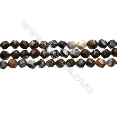"""Natural Brown Outback Jasper Beads Strands, Star Cut Faceted, Size 8x8mm, Hole 0.8mm, 15~16""""/strand"""