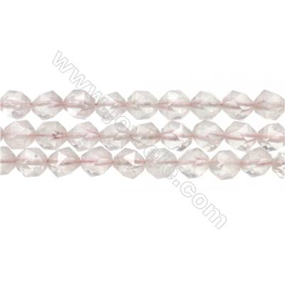 """Natural Rose Quartz Beads Strands, Star Cut Faceted, Szie 8x8mm, Hole 1mm, 15~16""""/strand"""