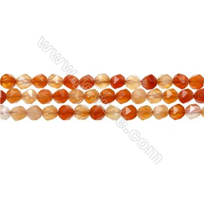 "Natural Carnelian Beads Strands, Star Cut Faceted, Size 8x8mm, Hole 1mm, 15~16""/strand"