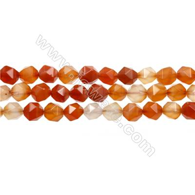 "Natural Carnelian Beads Strands, Star Cut Faceted, Size 10x10mm, Hole 0.8mm, 15~16""/strand"