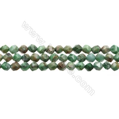 "Natural African Jade Beads Strands, Star Cut Faceted, Size 6x6mm, Hole 0.8mm, 15~16""/strand"