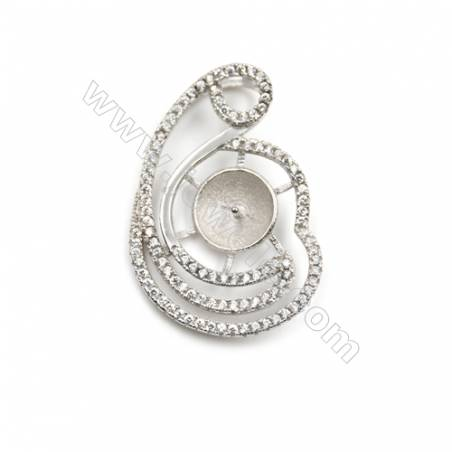 925 sterling silver platinum plated CZ pendant, 19x28mm, x 5 pcs, tray 8mm, needle 0.7mm