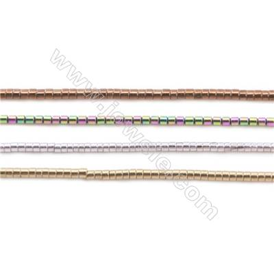 Various Colors Plated Hematite Beads Strand  Tube  Size: 1x1mm  Hole 0.6mm  about 400 beads/strand 15~16""