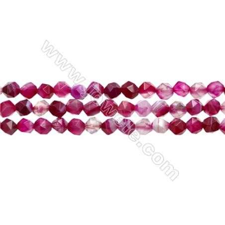 "Natural Pink Sardonyx Beads Strands, Rose Agate Beads, Star Cut Faceted, Size 6x6mm, Hole 0.8mm, 15~16""/strand"
