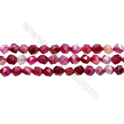 "Natural Pink Sardonyx Beads Strands, Rose Agate Beads, Star Cut Faceted, Size 8x8mm, Hole 1mm, 15~16""/strand"