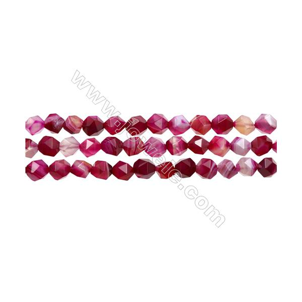 """Natural Pink Sardonyx Beads Strands, Rose Agate Beads, Star Cut Faceted, Size 8x8mm, Hole 1mm, 15~16""""/strand"""