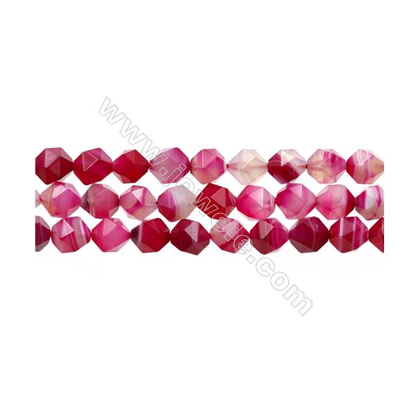 """Natural Pink Sardonyx Beads Strands, Rose Agate Beads, Star Cut Faceted, Size 10x10mm, Hole 1mm, 15~16""""/strand"""