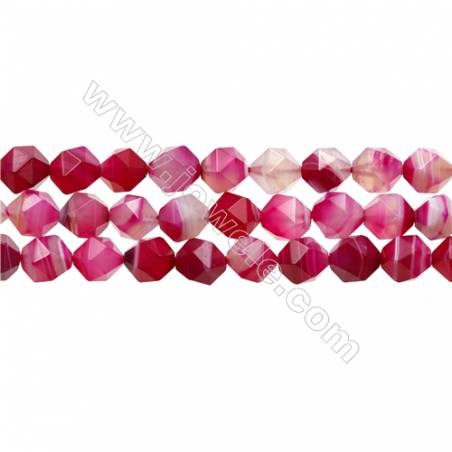 "Natural Pink Sardonyx Beads Strands, Rose Agate Beads, Star Cut Faceted, Size 10x10mm, Hole 1mm, 15~16""/strand"