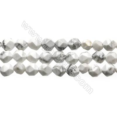 "White Howlite Beads Strands, Star Cut Faceted, Size 6x6mm, Hole 0.8mm, 15~16""/strand"