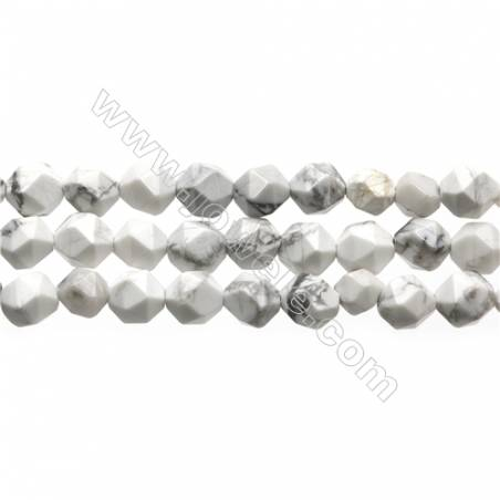 """White Howlite Beads Strands, Star Cut Faceted, Size 8x8mm, Hole 1mm, 15~16""""/strand"""