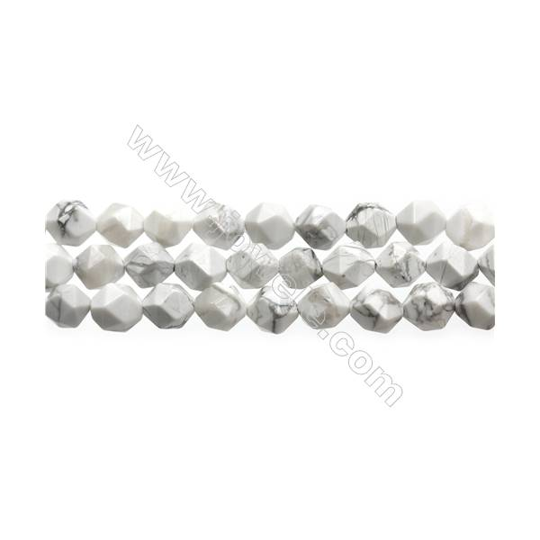 "White Howlite Beads Strands, Star Cut Faceted, Size 10x10mm, Hole 0.8mm, 15~16""/strand"