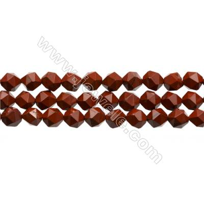 "Red Jasper Beads Strands, Star Cut Faceted, Size 8x8mm, Hole 0.8mm, 15~16""/strand"