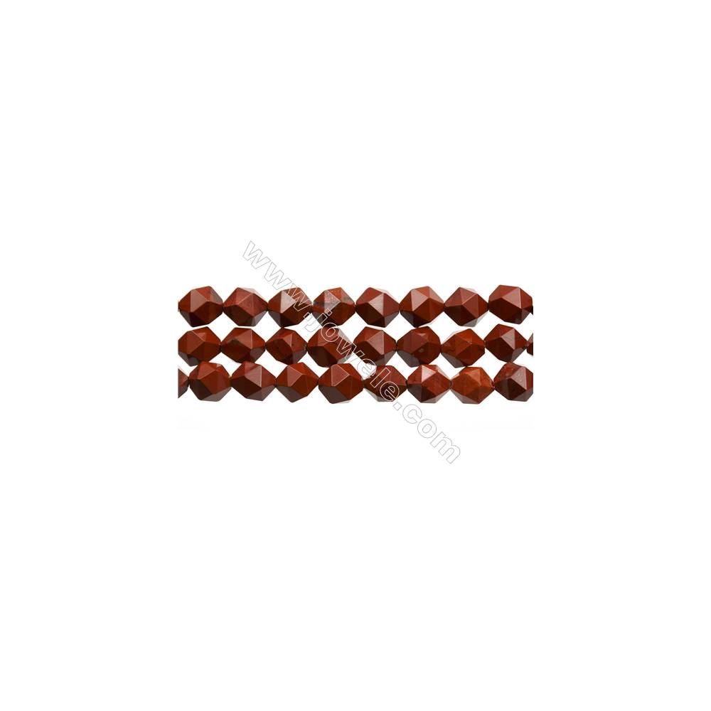 "Red Jasper Beads Strands, Star Cut Faceted, Size 10x10mm, Hole 0.8mm, 15~16""/strand"