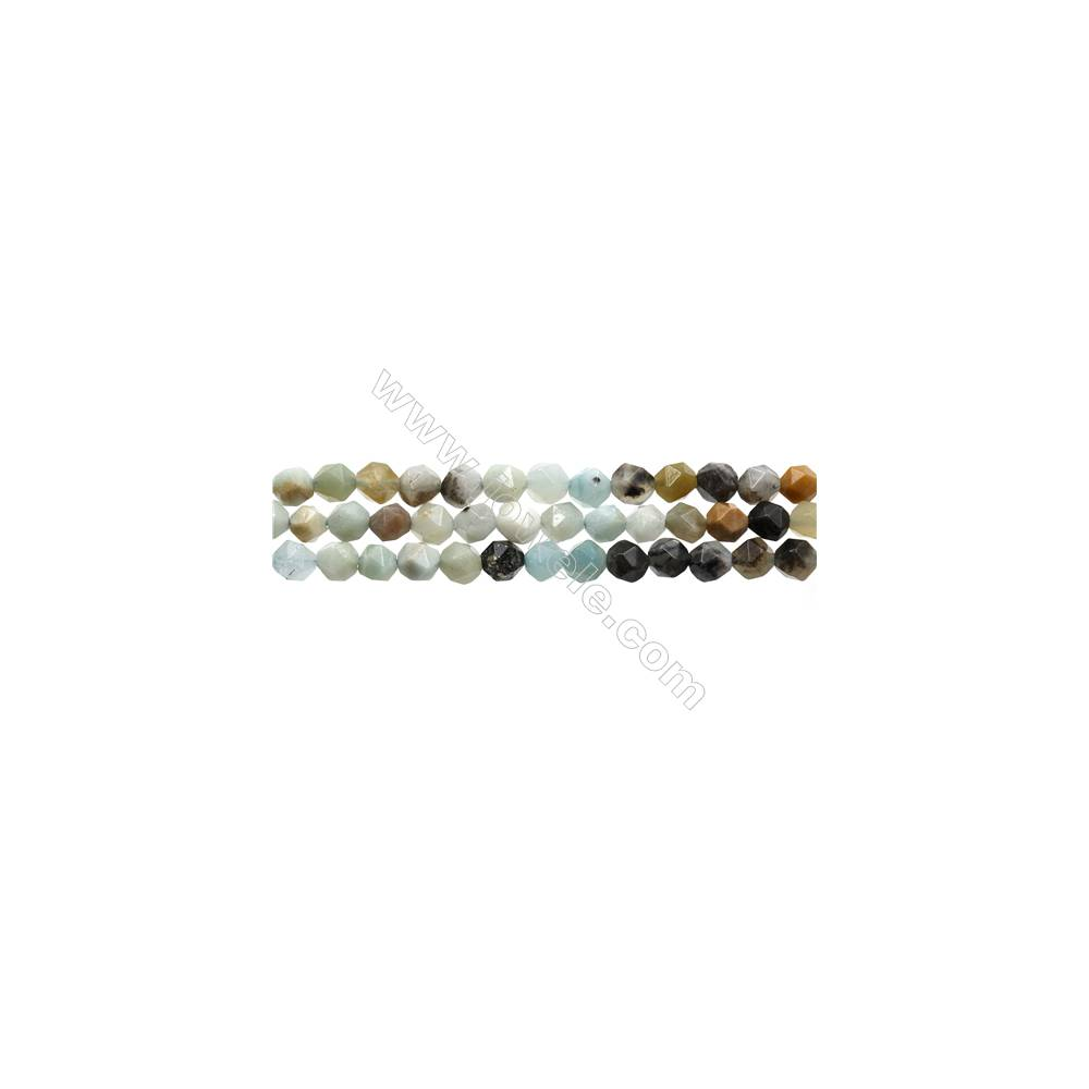 "Black Amazonite Gemstone Beads Strands, Star Cut Faceted, Size 6x6mm, Hole 0.8mm, 15~16""/strand"