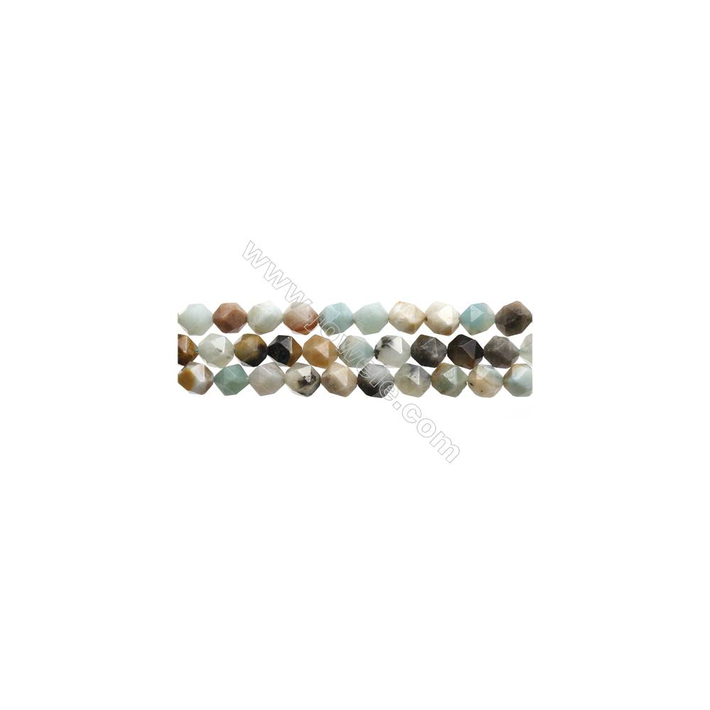 "Black Amazonite Gemstone Beads Strands, Star Cut Faceted, Size 8x8mm, Hole 0.8mm, 15~16""/strand"