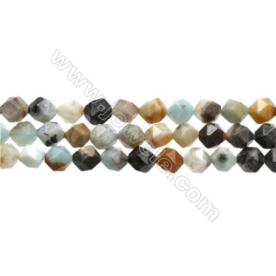 "Black Amazonite Gemstone Beads Strands, Star Cut Faceted, Size 10x10mm, Hole 1mm, 15~16""/strand"