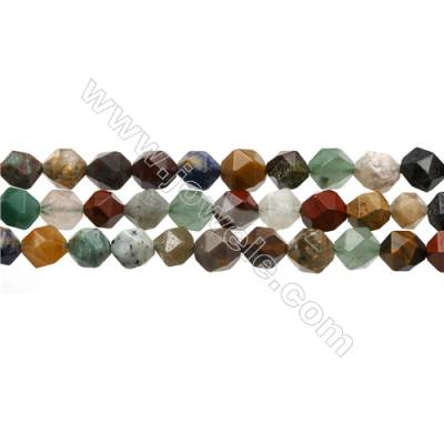 """Mixed Gemstone Beads Strands, Star Cut Faceted, Size 8x8mm, Hole 0.8mm, 15~16""""/strand"""