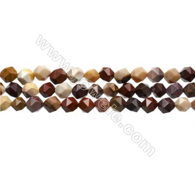 "Mookaite Jasper Beads Strands, Star Cut Faceted, Size 8x8mm, Hole 0.8mm, 15~16""/strand"