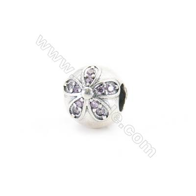 Sterling Silver Cubic Zirconia European Beads, x 1 piece, Floral, diameter 10 mm, hole 4.5 mm