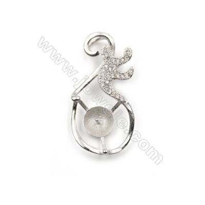 Platinum plated 925 sterling silver zircon pendant, 16x30mm, x 5 pcs, tray 7mm, needle 0.7mm