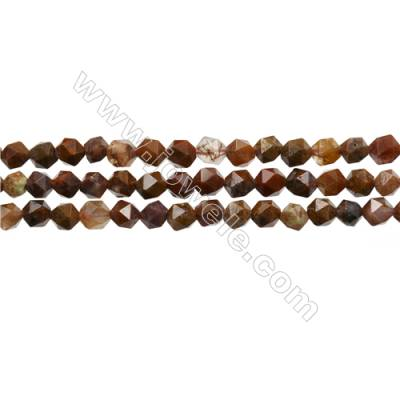 "Mexican Crazy Lace Agate Beads Strand, Star Cut Faceted, Size 6x6mm, Hole 0.8mm, 15~16""/strand"
