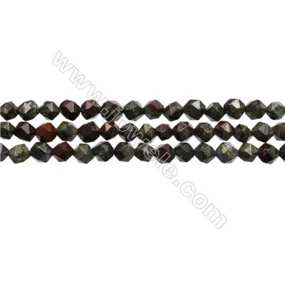 """Grade A Dragon Blood Jasper Beads Strands, Star Cut Faceted, Size 6x6mm, Hole 0.8mm, 15~16""""/strand"""