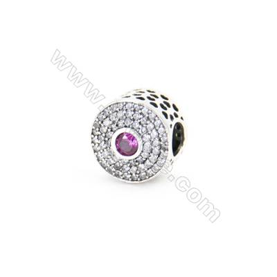 Sterling Silver Cubic Zirconia European Beads, x 1 piece, Tyre, Size 12x10mm, hole 4.5mm